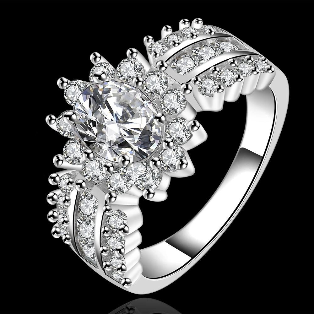 Wholesale hot fashion 925 sterling silver big shiny AAA zircon claw Ring R584