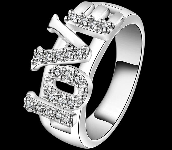 women's fashion jewelry 925 Sterling silver filled LOVE Ring R514