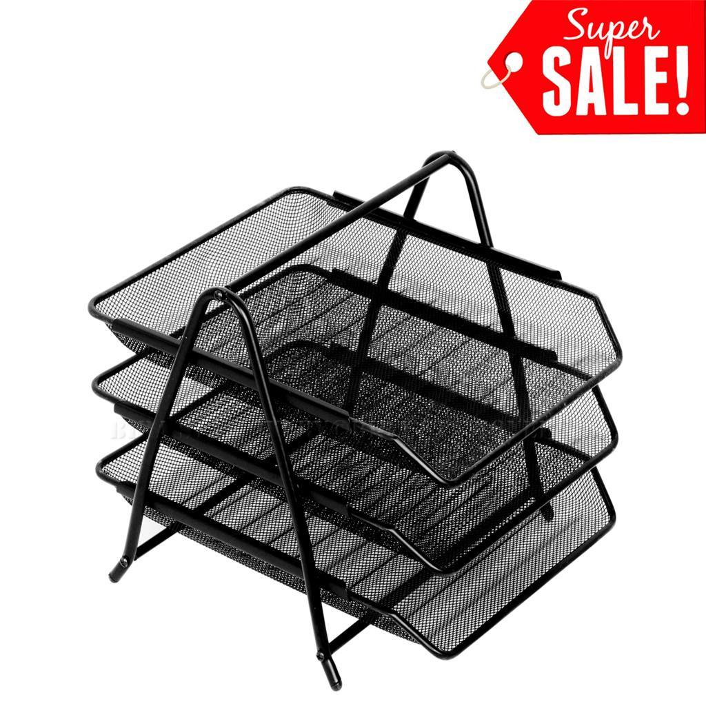 tray documents 3 tier steel mesh desk paper storage office. Black Bedroom Furniture Sets. Home Design Ideas