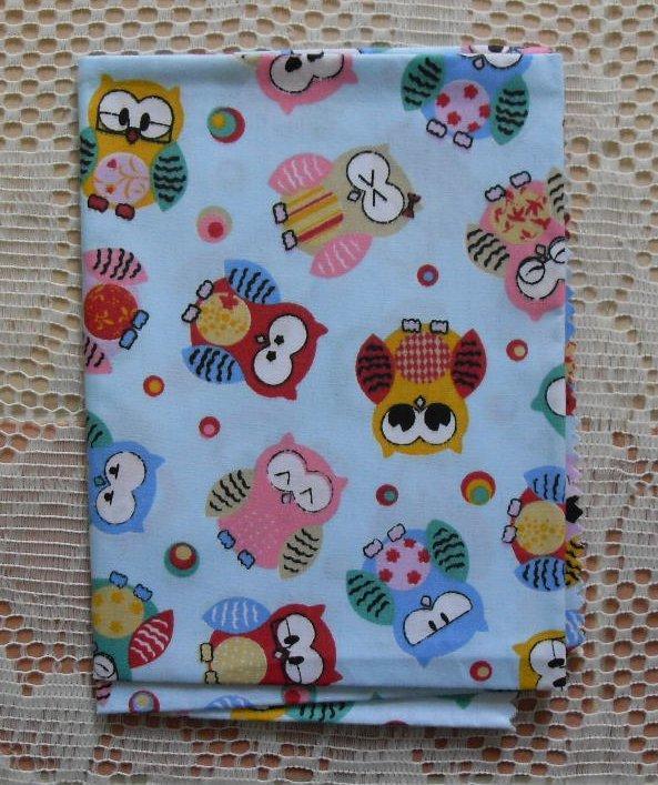 Cute owl bird print fabric 50cm x 50cm fq 100 cotton for Bird nursery fabric
