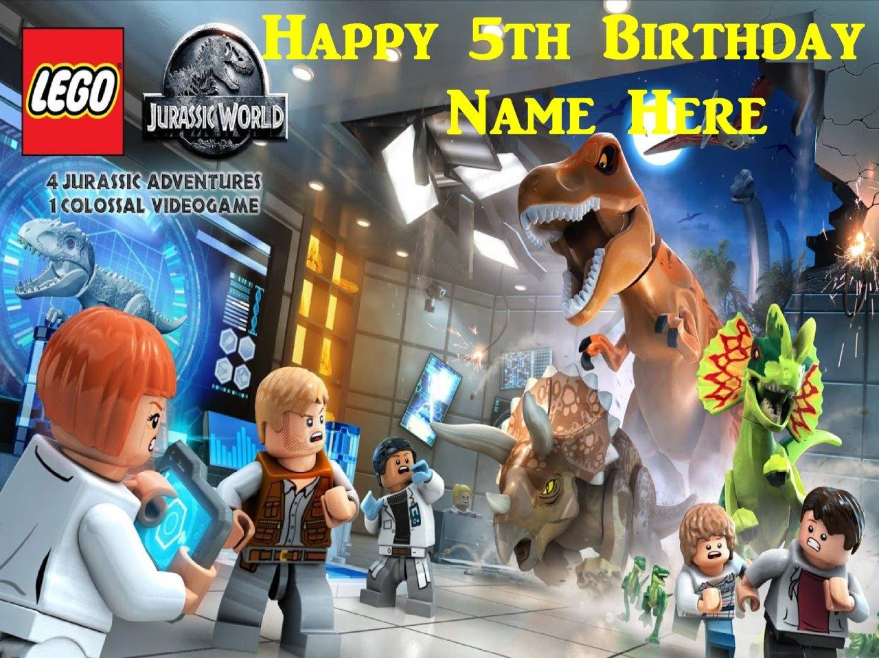 Jurassic park lego edible icing cake toppers personalise for your jurassic park lego edible icing cake toppers personalise gumiabroncs Images