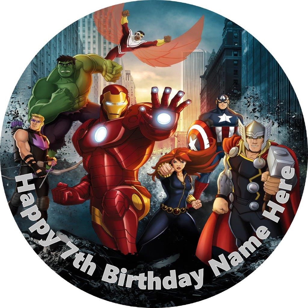 Avengers Cake Topper Edible Rice Paper Personalised Ebay