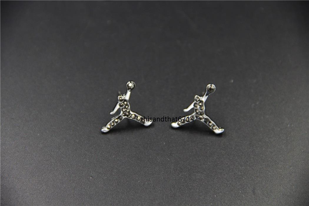 brand new iced out michael jumpman cz stud earrings