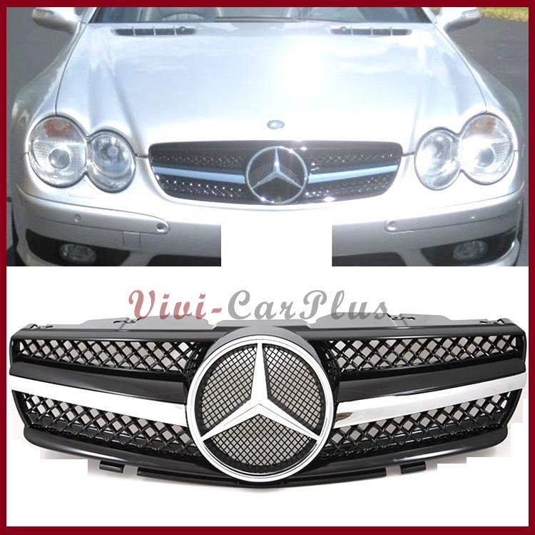 2003 Mercedes Benz Sl Class Exterior: SL63 Look Gloss Chrome Black Front Grille Hood Fit 03-06