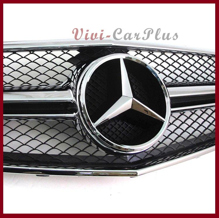 E63 type shiny black front grille emblem fit 10 13 benz for Mercedes benz front emblem