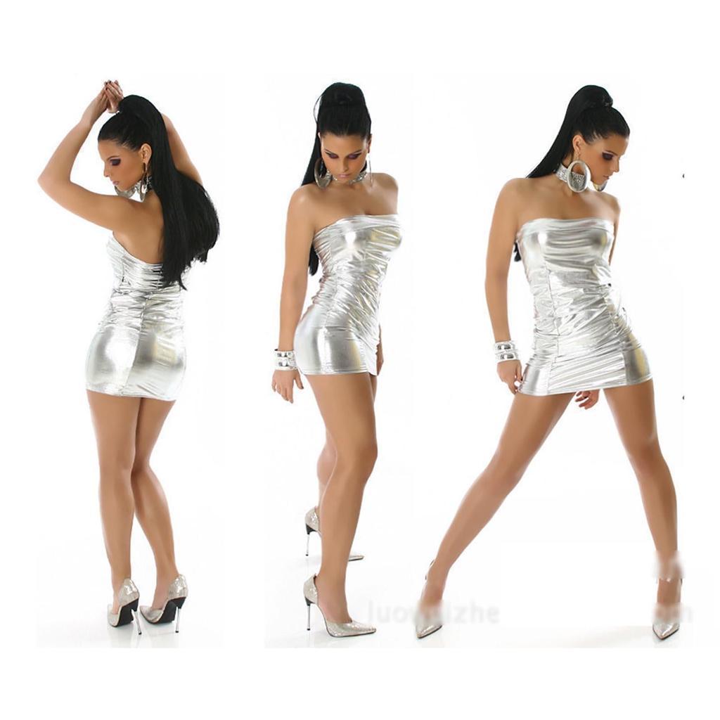 figure hugging lame metallic pu strapless tube mini dress - tight