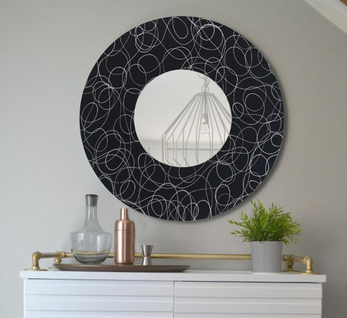 handmade black silver round wall mirror functional metal art 23 jon allen ebay. Black Bedroom Furniture Sets. Home Design Ideas