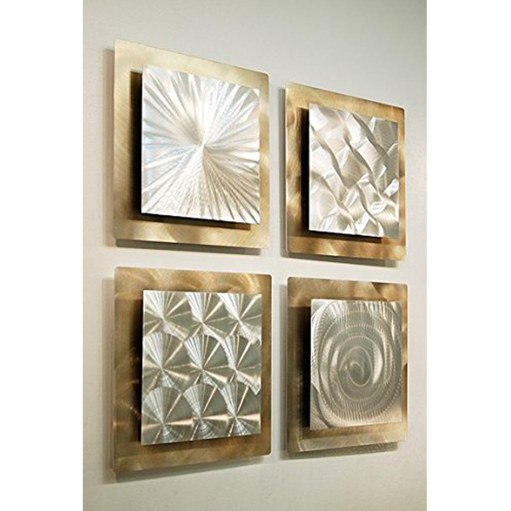 Set of 4 silver gold metal wall art accent sculpture for Gold wall art