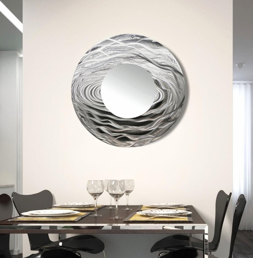 round silver wall mirror metal wall art accent for modern home decor jon allen ebay. Black Bedroom Furniture Sets. Home Design Ideas