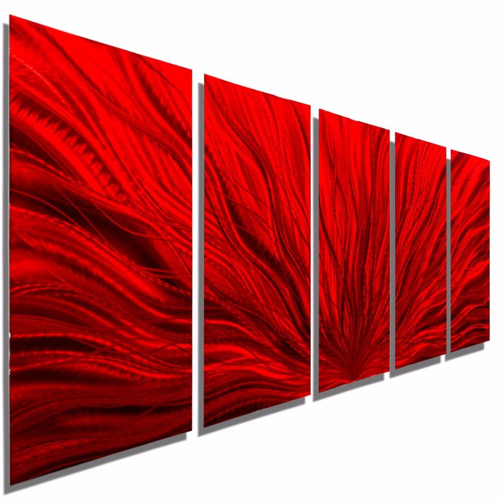 multi panel metal wall art sculpture red modern metal wall decor