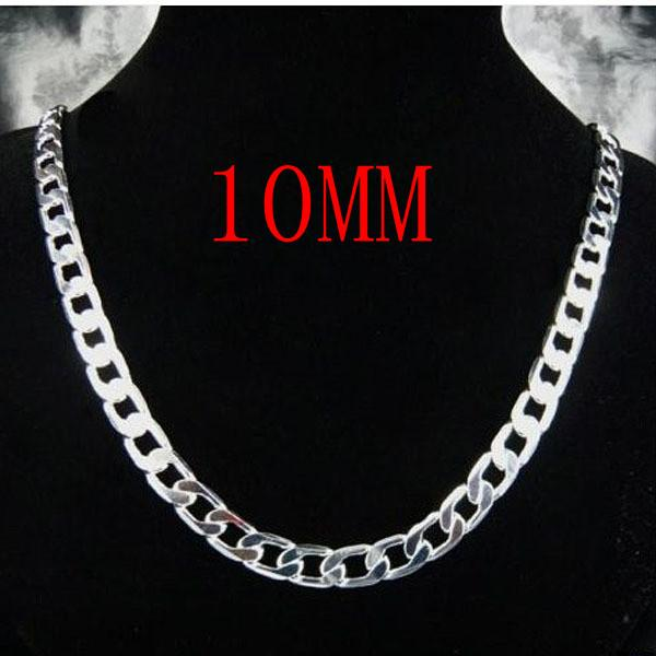 Free shipping 10MM 12MM Men 925 Sterling Silver Chain Necklace 16-24 inch