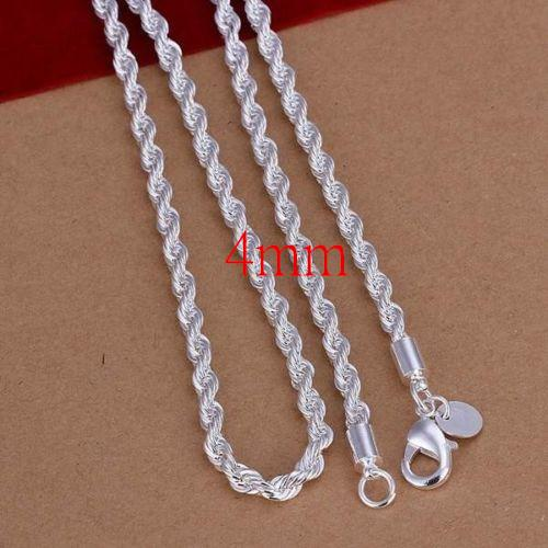 Fashion 2MM-4MM 925 sterling silver Chain Men Necklace 16-24 inch