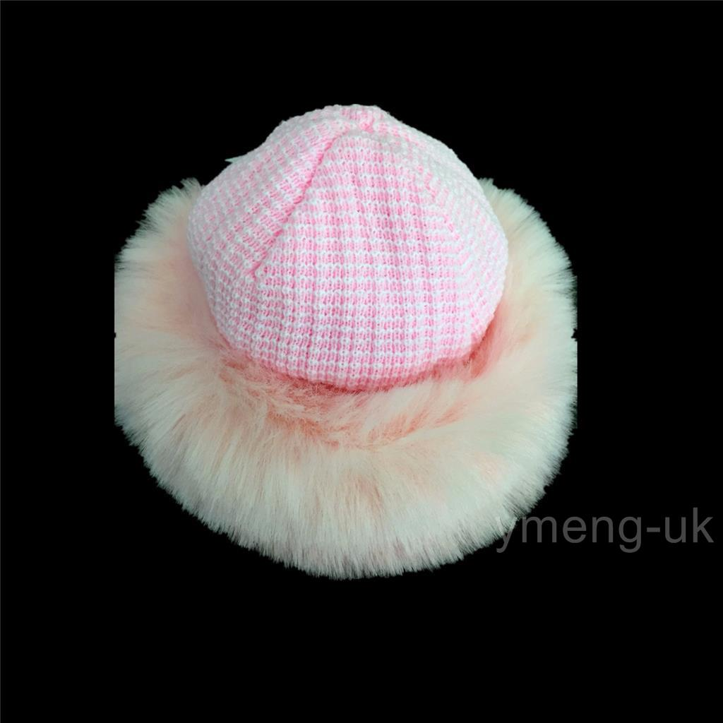 Knitting Pattern Russian Hat : Baby Girl Knitted Winter Russian Hat Fur Trim/Attached Scarf/White/Pink/3M-24...