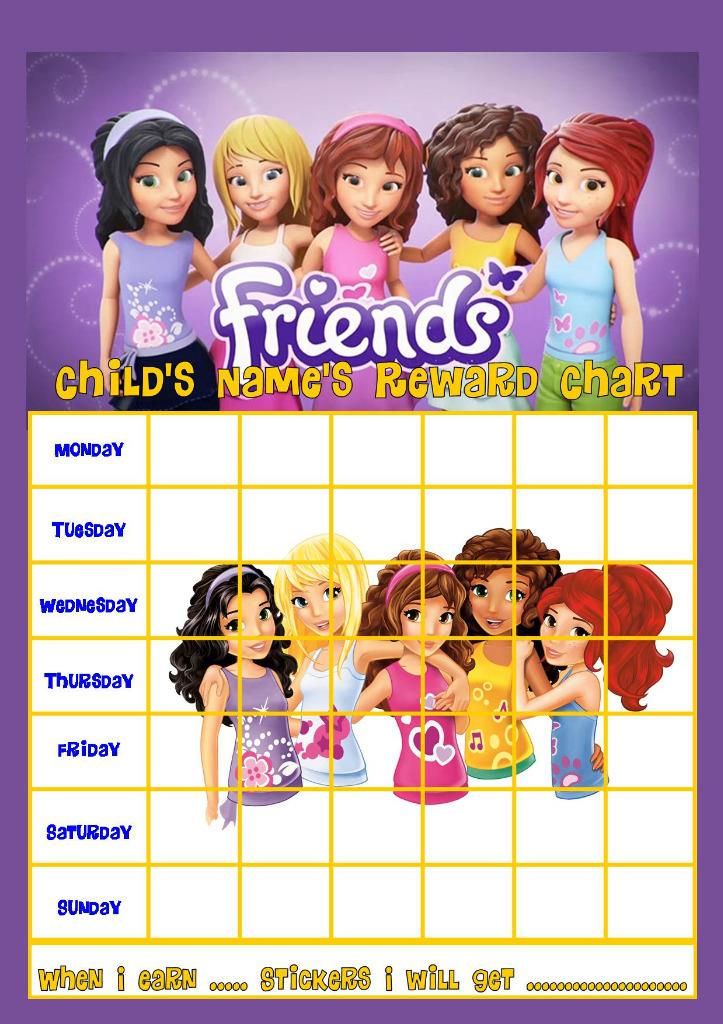 LEGO FRIENDS PERSONALISED REWARD CHART WITH FREE STICKERS AND PEN   eBay