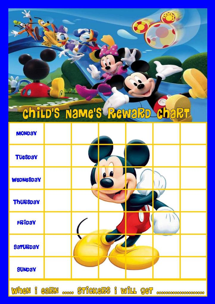 MICKEY MOUSE CLUBHOUSE b PERSONALISED REWARD CHART WITH