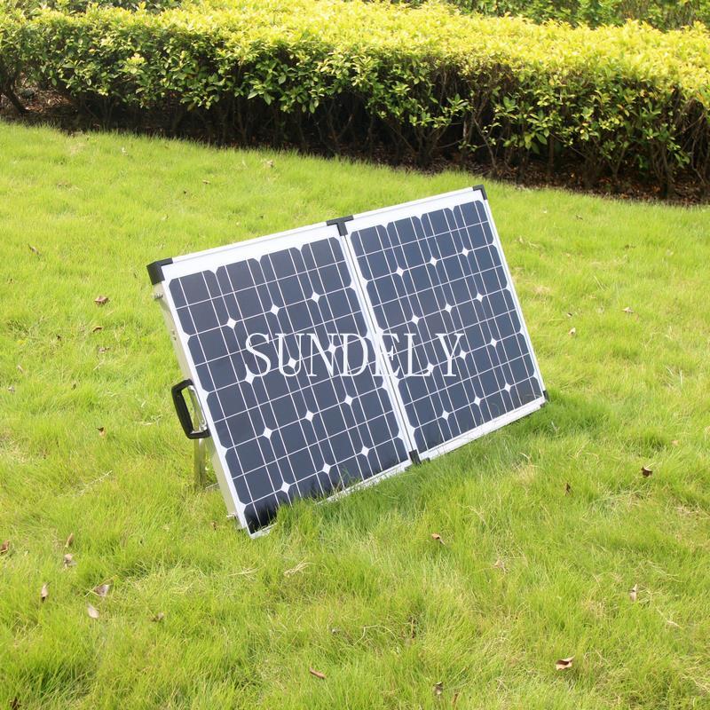 100w portable mono folding solar panel kit 12v battery. Black Bedroom Furniture Sets. Home Design Ideas