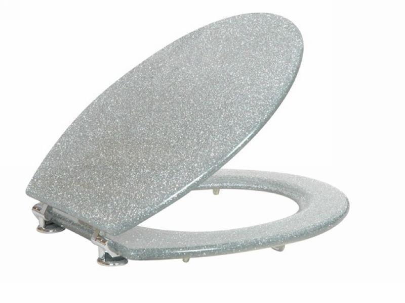silver glitter toilet seat sparkle resin bathroom chrome. Black Bedroom Furniture Sets. Home Design Ideas