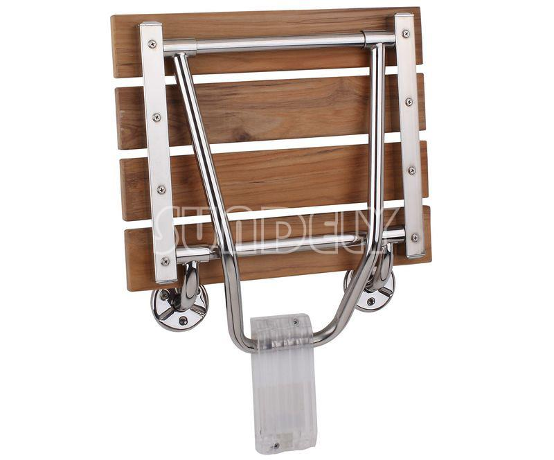 folding wall mounted steel shower seat chair foldaway disabled