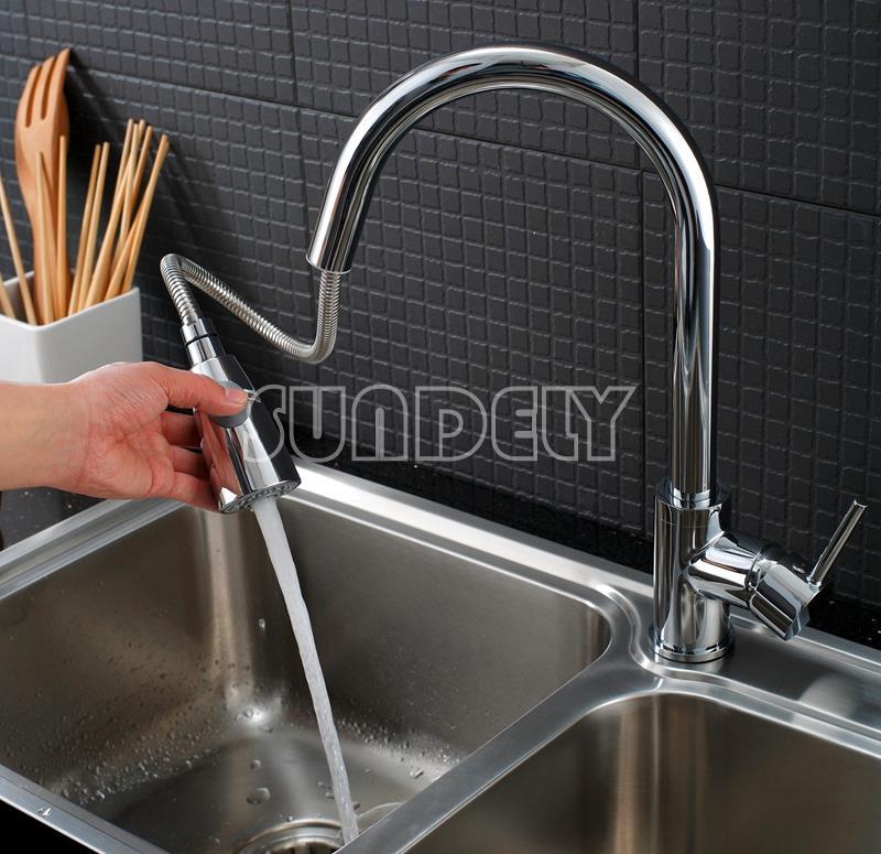 Kitchen Sink Basin Swivel Pull Out Gooseneck Spout Spray Mixer Tap Faucet Ebay
