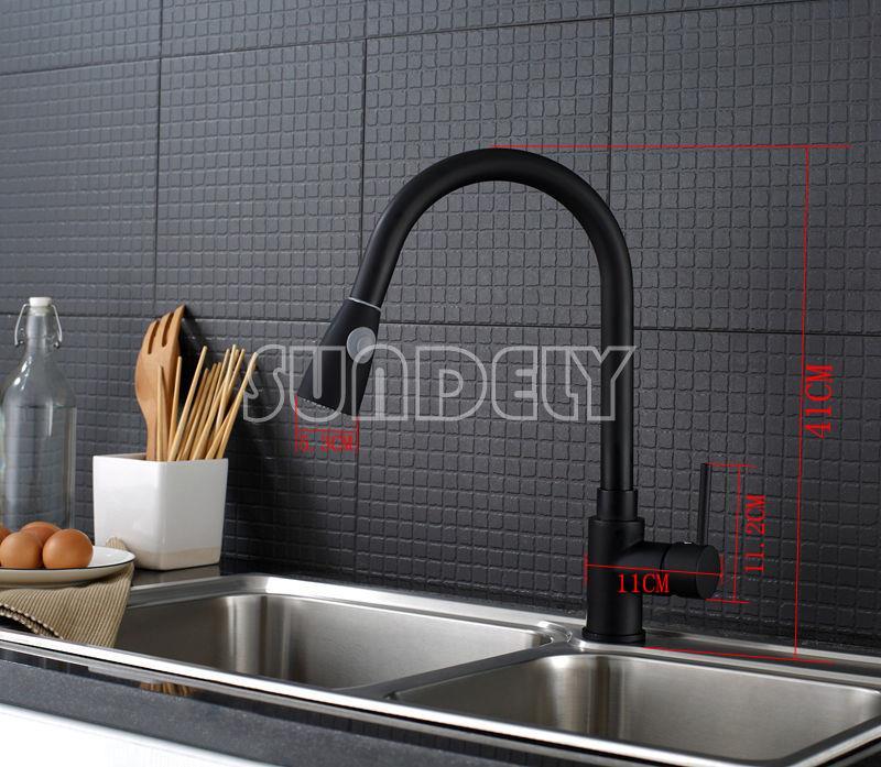 Black Modern Chrome Brass Kitchen Faucet Sink Mixer Swivel