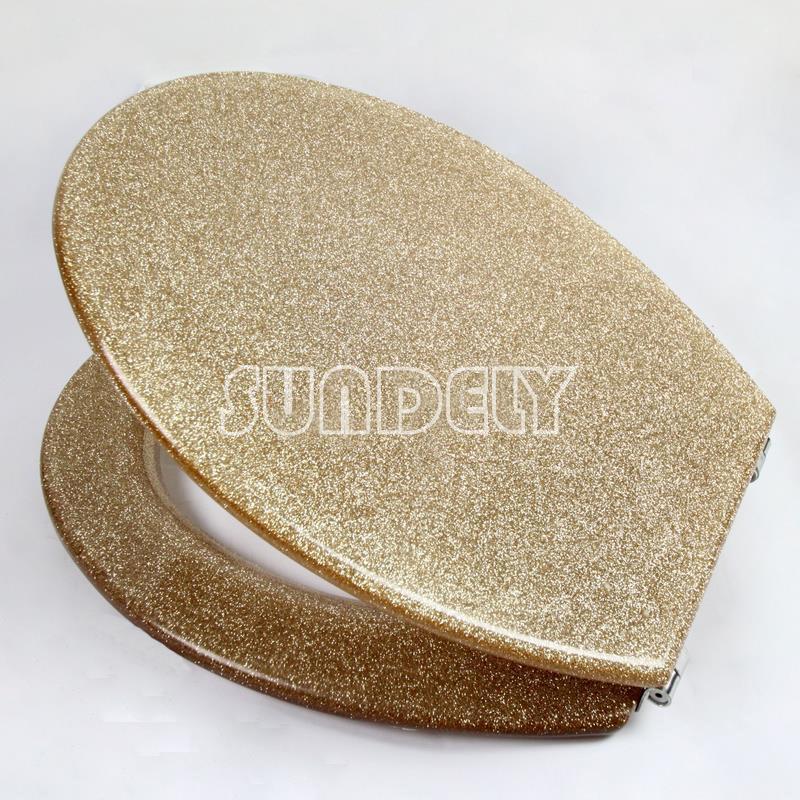 NEW Golden Glitter Toilet Seat Range Sparkle Resin Bathroom Chrome Hinges