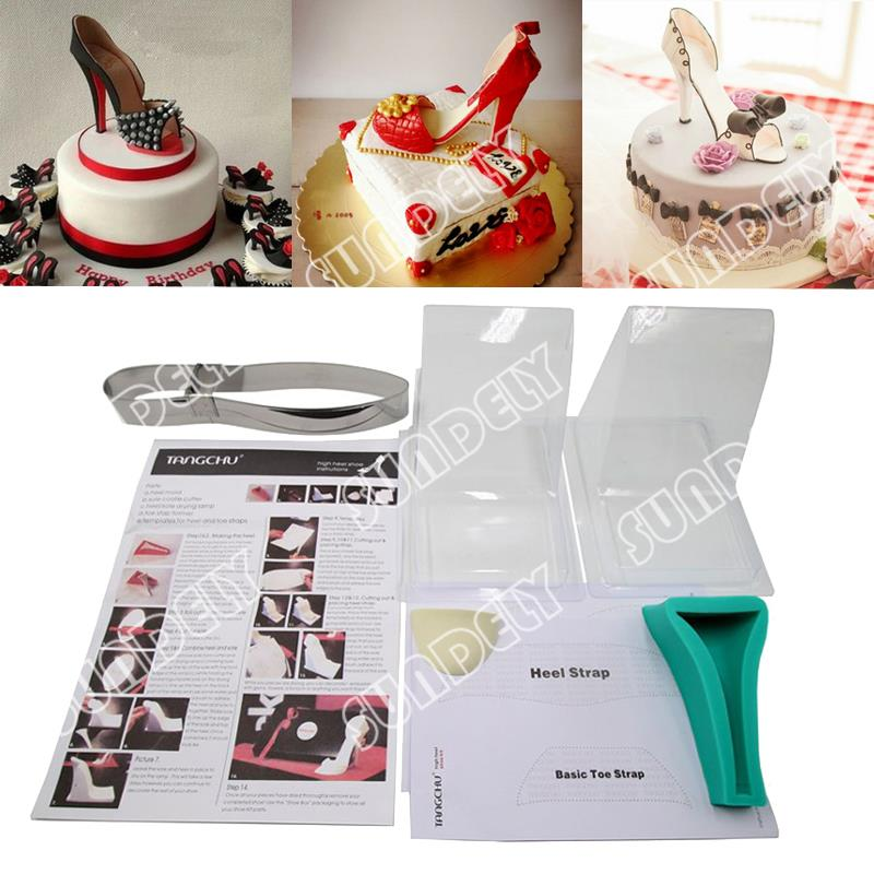 New High heel shoe kit silicone fondant cake template mold ...