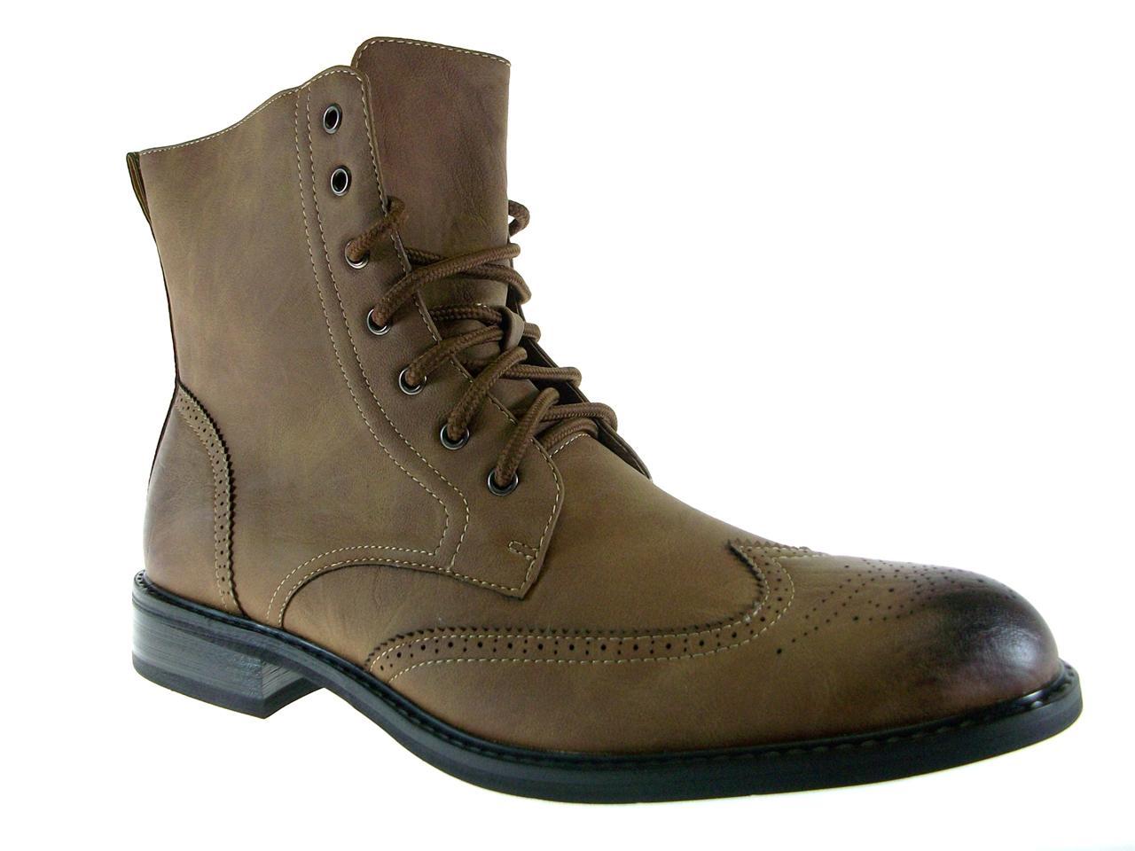 mens delli aldo lace up calf high wing tip dress boots w