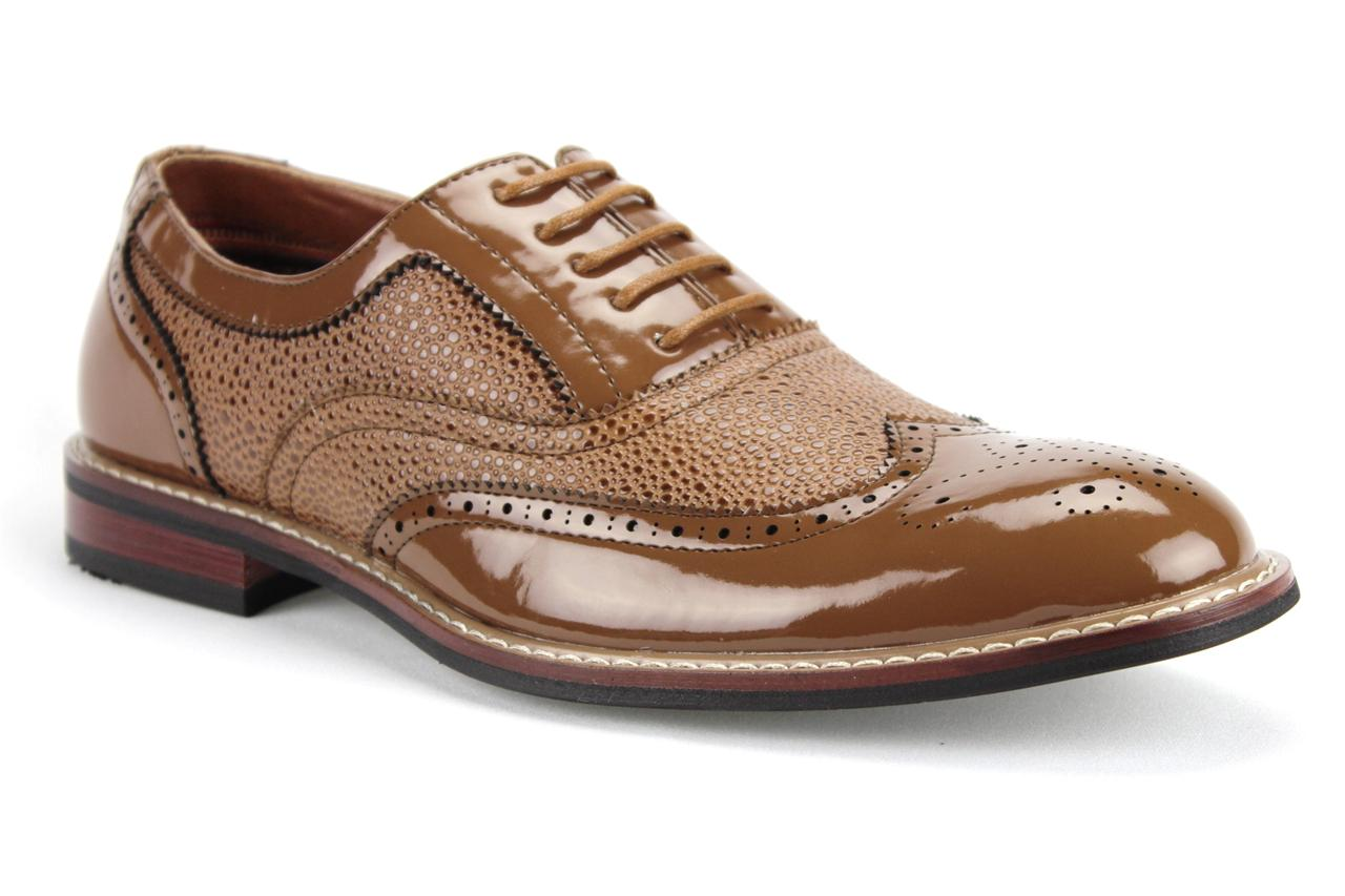ferro aldo mens formal patent leather wing tip lace up