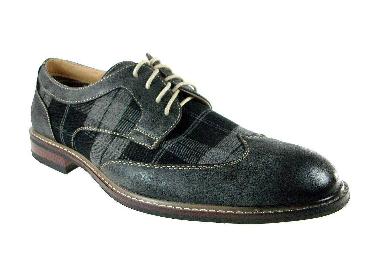 ferro aldo mens classic lace up oxford plaid dress shoes w
