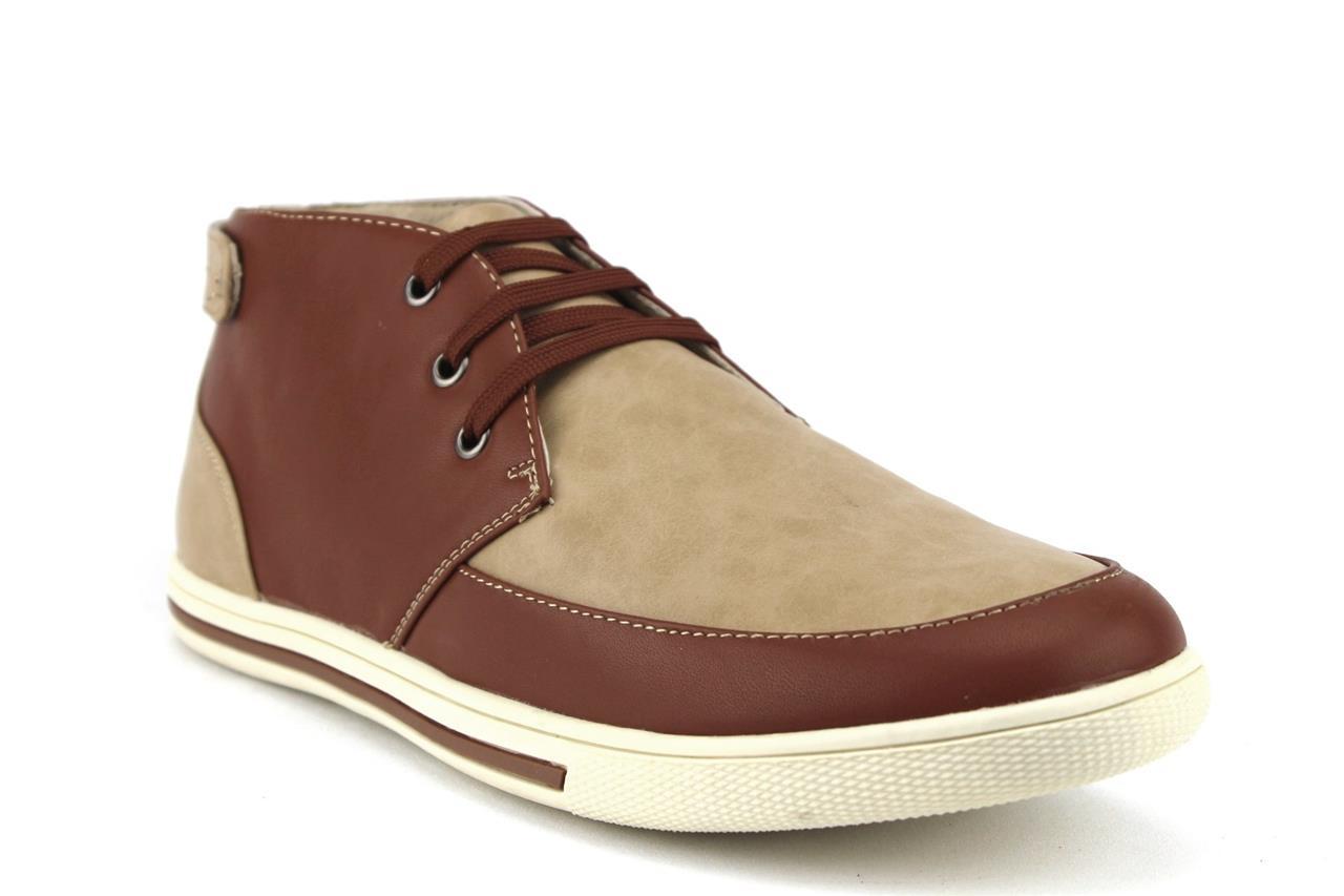 New Mens Casual Dress Hi Top Chukka Sneakers Boots 2 Tone