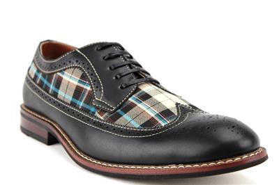mens ferro aldo wing tip plaid lace up oxford dress shoes