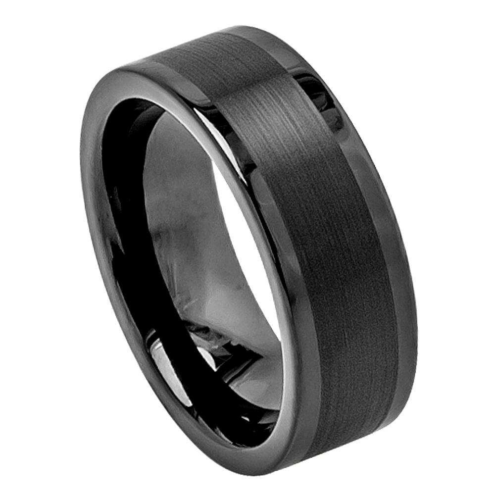 Black tungsten carbide wedding band ring mens jewelry for Black wedding ring men