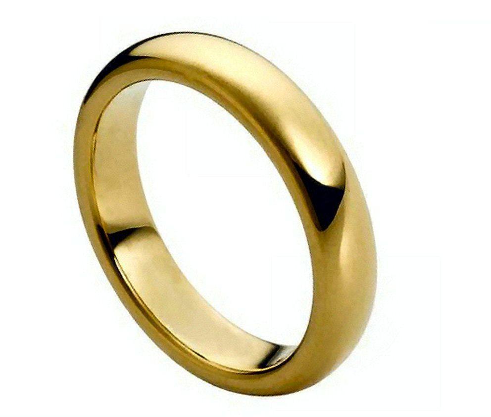 tungsten carbide 18k gold dome wedding engagement band