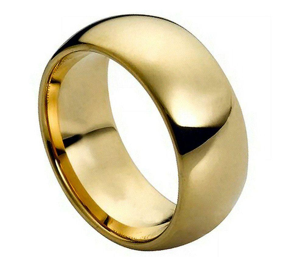 Tungsten Carbide 18k Gold Dome Wedding Engagement Band Promise Ring Mens Clas