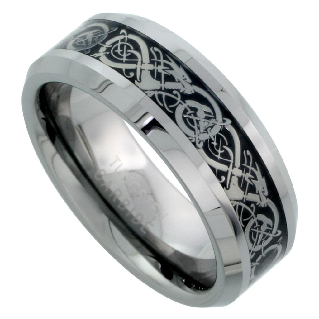 black tungsten carbide wedding band ring mens jewelry celtic dragon pattern ebay. Black Bedroom Furniture Sets. Home Design Ideas