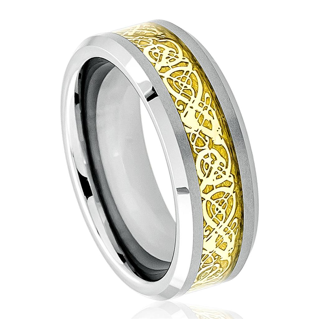 Black Tungsten Carbide Wedding Band Ring Mens Jewelry Celtic Dragon Pattern
