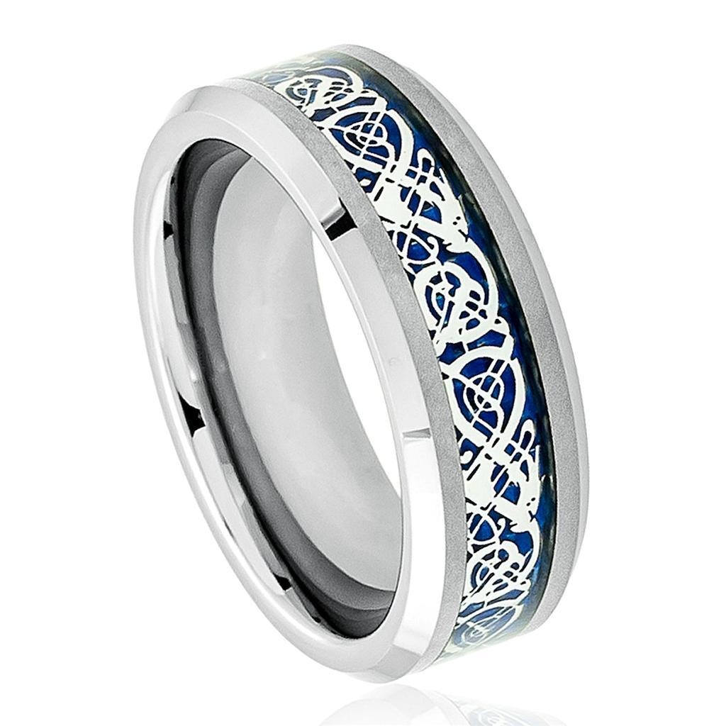 Black Tungsten Carbide Wedding Band Ring Mens Jewelry Celtic Dragon Pattern