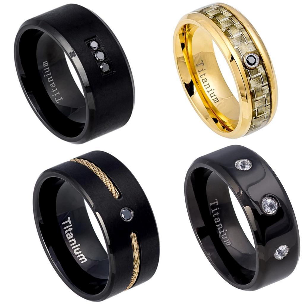 New Titanium Mens Diamond Wedding Band Comfort Fit Promise Ring Camo Gold Bla