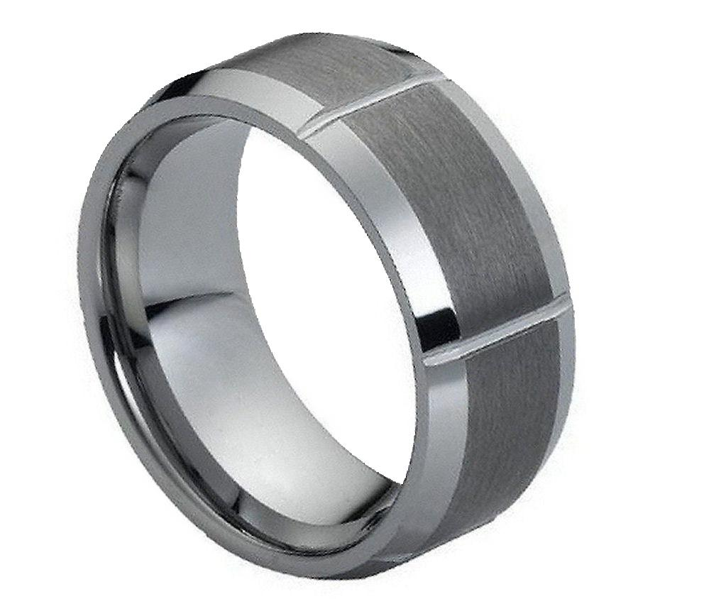9mm tungsten carbide unisex wedding band ring beveled
