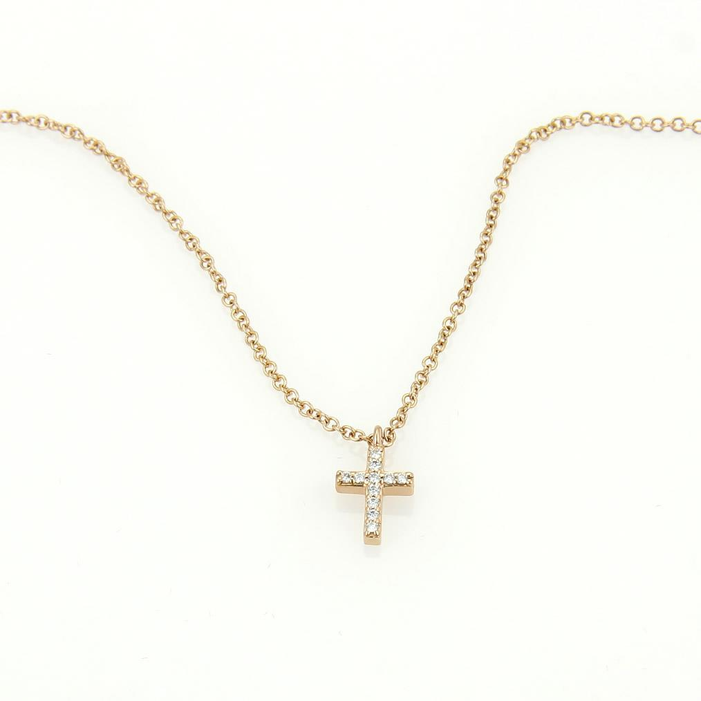 tiffany co 18k metro rose gold diamond cross pendant. Black Bedroom Furniture Sets. Home Design Ideas