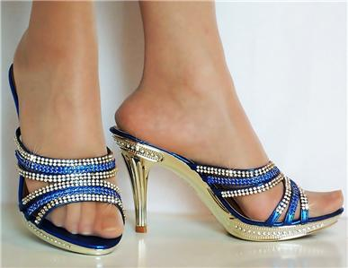 new diamante mid heel prom evening bridal slip on
