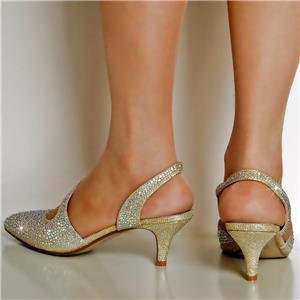 NEW Ladies Diamante Gold Silver Party Evening Low Kitten Heel