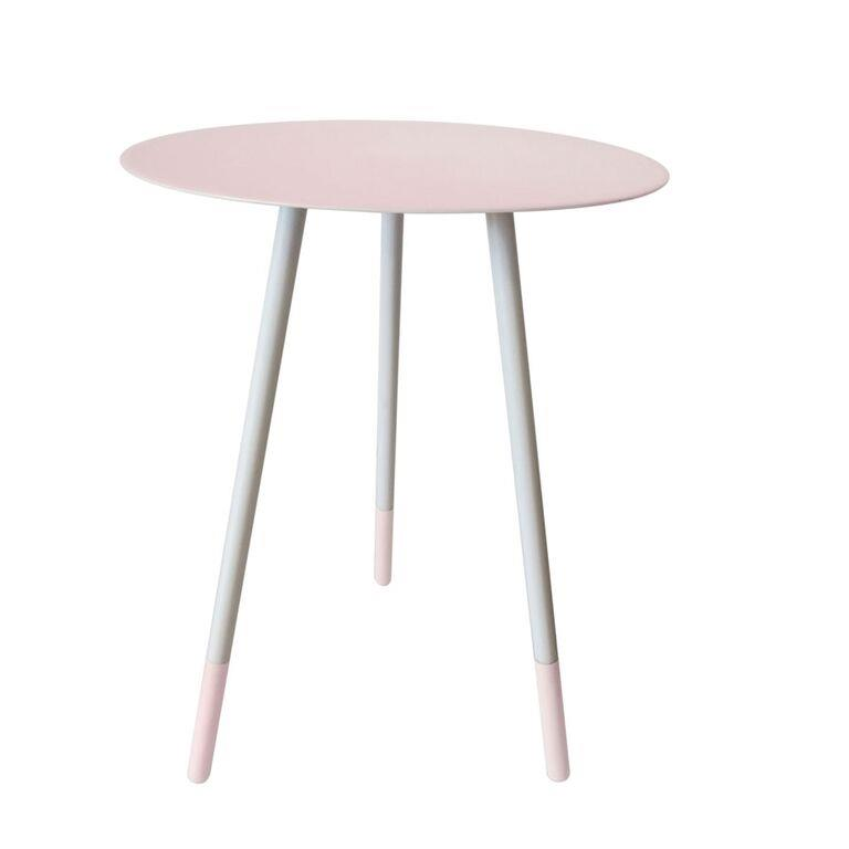 Round Enamel Metal Tripod Side Accent Table Industrial