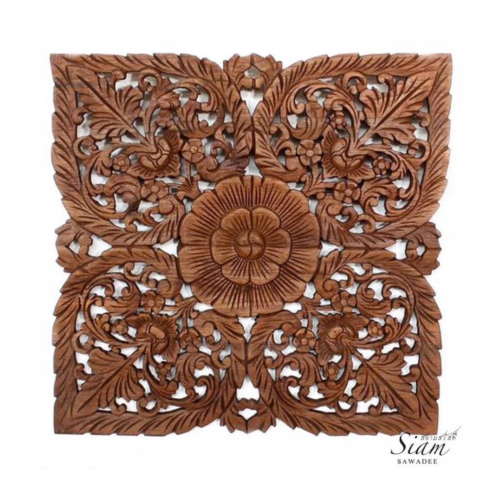 Thai wood carving wall art panel in light teak oil finish