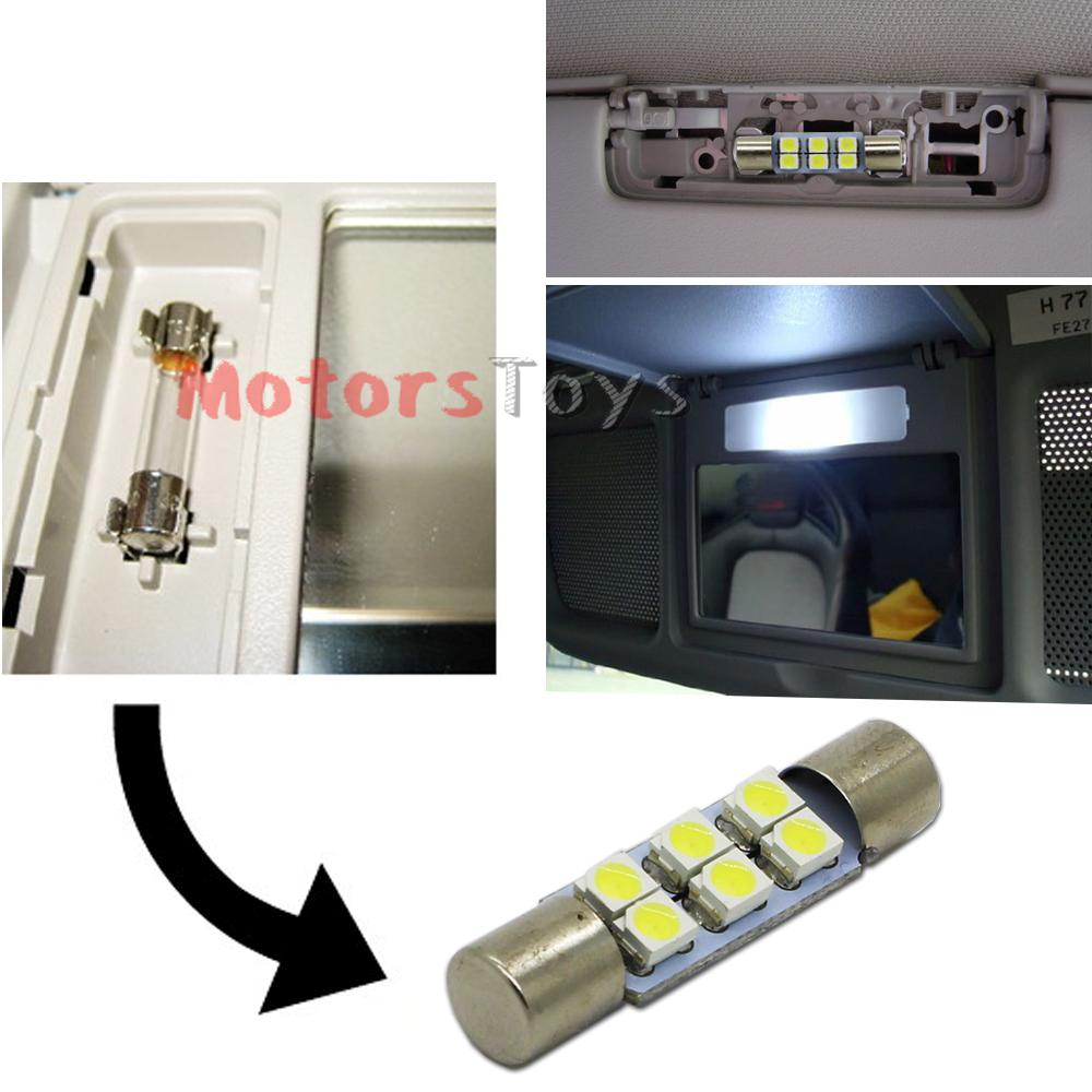 Vanity Mirror With Lights Car : (2) Xenon White 6-SMD 6641 LED Bulbs For Car Vanity Mirror Lights Sun Visor Lamp eBay