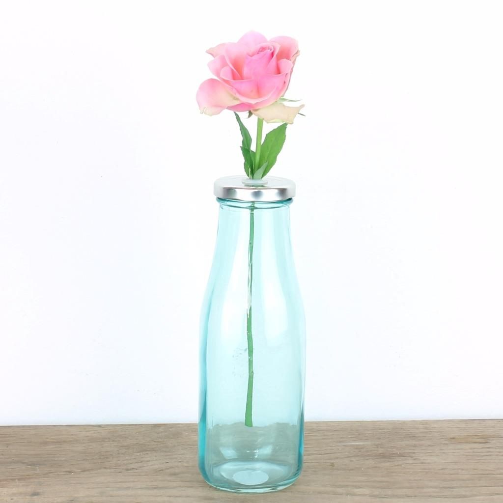 Retro Flower Vase Shabby Chic Wedding Rustic Set Glass Pink Blue