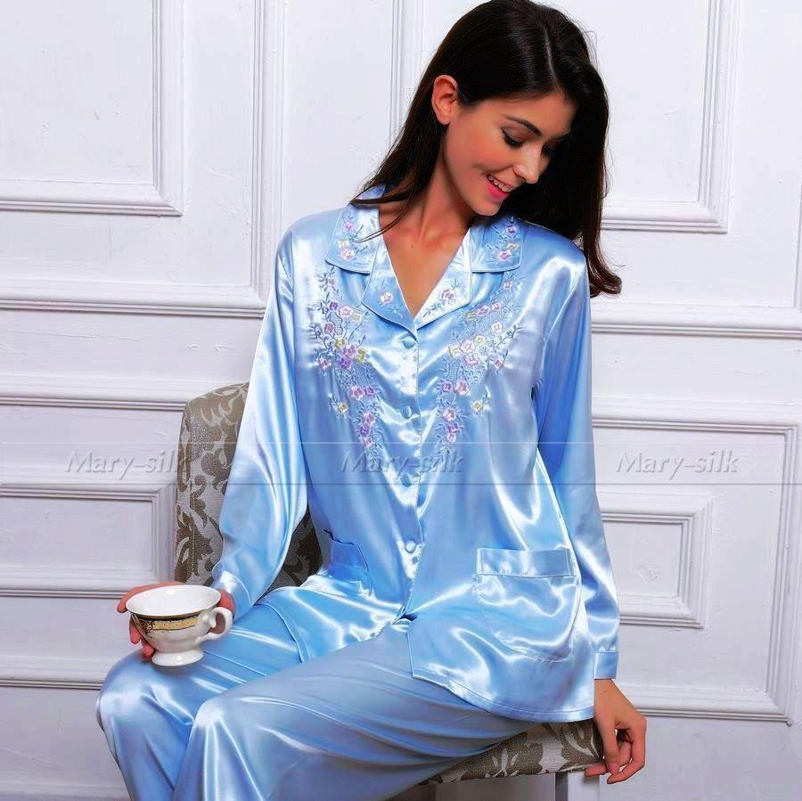 Nicely tailored Satin Pajama Set with one front pocket on chest. Serenedelicacy Women's Silky Satin Pajamas, Button up Long Sleeve PJ Set Sleepwear Loungewear. by Serenedelicacy. $ $ 28 99 Prime. FREE Shipping on eligible orders. Some sizes/colors are Prime eligible. out of 5 stars