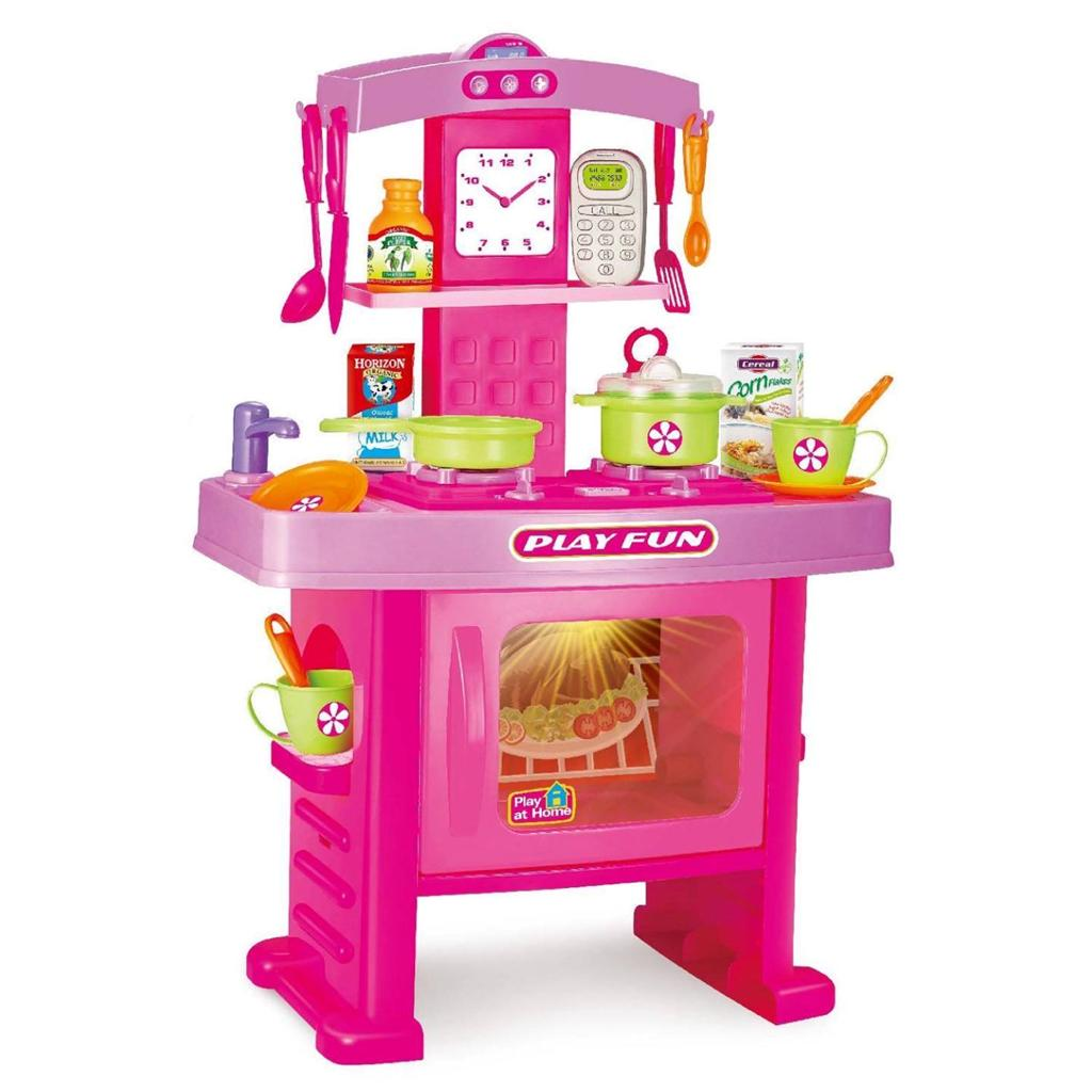 Pink electronic childrens kids kitchen cooking role play for Electronic kitchen set