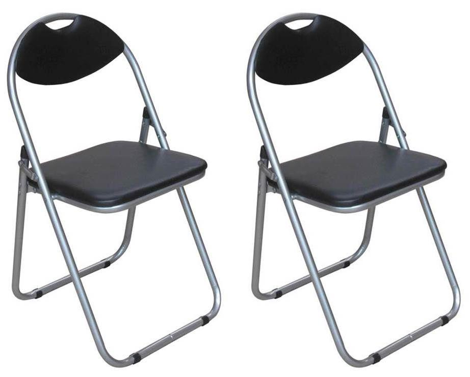 2 x BLACK METAL FOLDING CHAIRS WITH PVC FOAM PADDED BACK SEAT CHAIRS