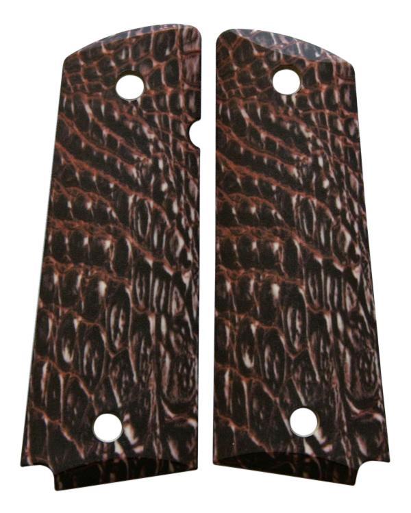 Custom Full Size 1911 Grips Ambidextrous Gator Skin for Colt ...